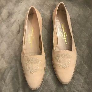 Salvatore Ferragamo Tan Embroidered SlipOn Loafers